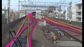 地平から高架に上がる芦花公園駅~八幡山駅間を走行する京王線上り7000系の前面展望