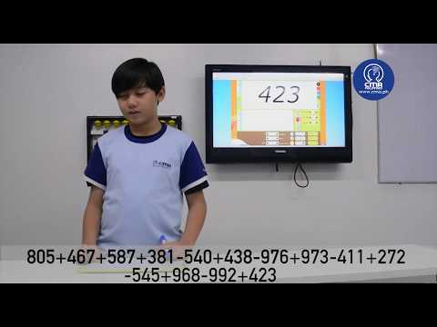 Vaughn, 10-year-old CMA student, adding and subtracting 3 digits // CMA Philippines