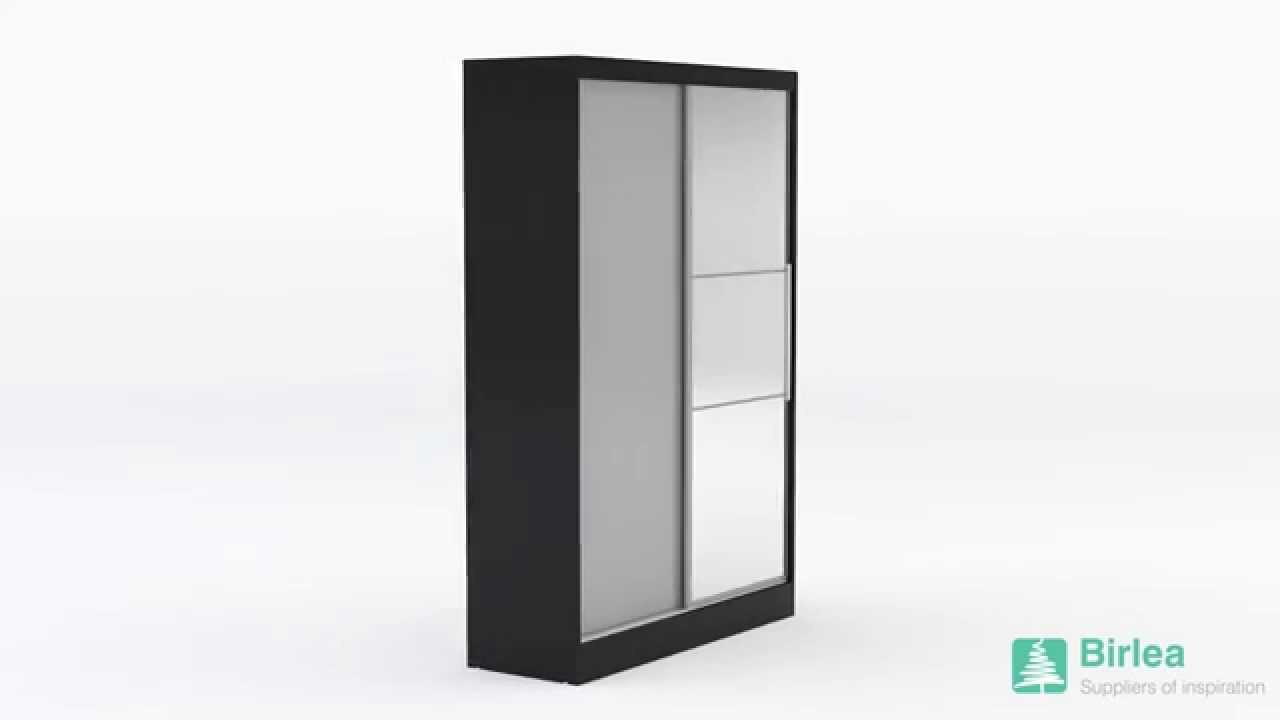 Birlea Lynx 2 Door Sliding Wardrobe With Mirror Black Grey Youtube
