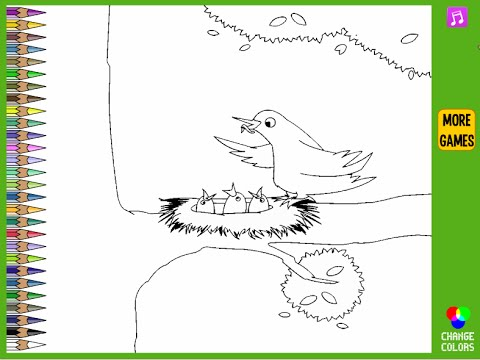 Bird Nest Coloring Pages For Kids