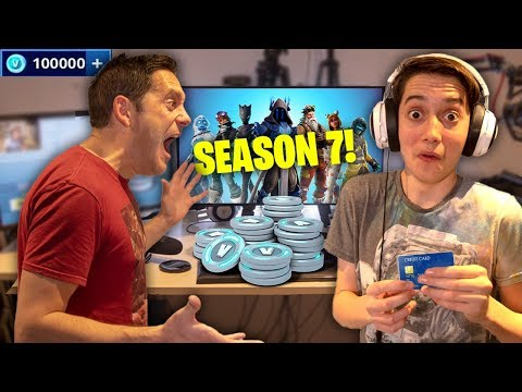 Kid Spends £1000 in Fortnite Season 7 on Crazy Dads Credit Card! (100% UNLOCKED!)