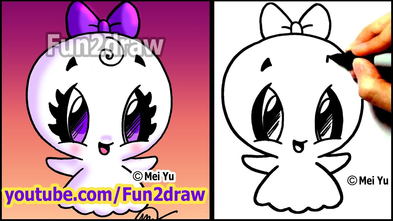 easy things to draw how to draw halloween cartoons super cute ghost fun2draw youtube - Cartoon Halloween Drawings