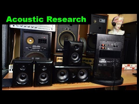 Acoustic Research AR HC6 Home Theater Speaker System Active Subwoofer Center Speaker Satellite