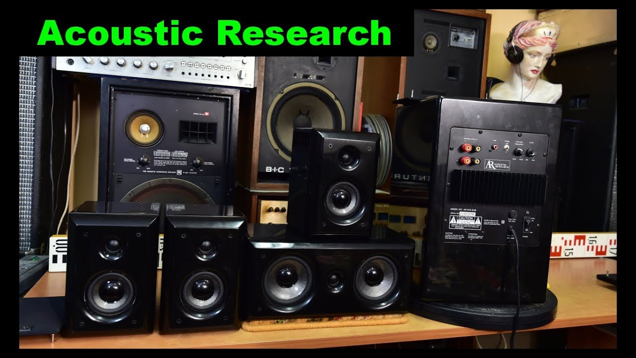 Acoustic Research Ar Hc6 Home Theater Speaker System Active Bass Reflex Subwoofer Center Satellite Youtube