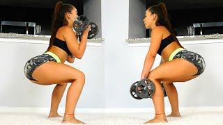 Squats, Lunges, Kick-Backs | Legs and Butt Workout with Dumbbells