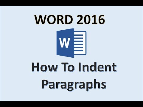 Word 2016 - Modify Paragraph Indentation