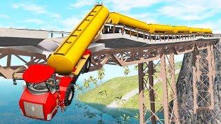 Breakable Bridge Traffic Jam #2 - Beamng drive