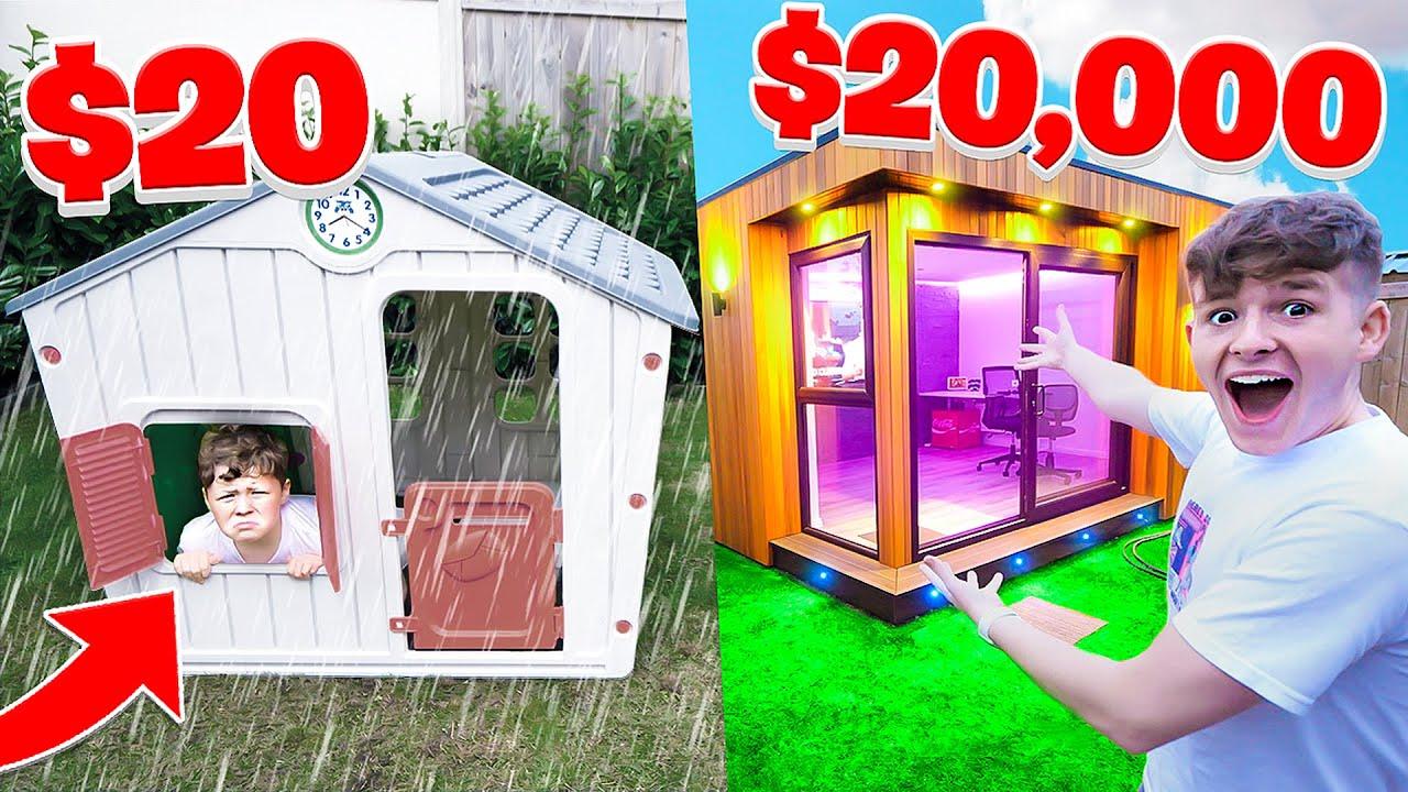 $20 vs $20,000 FORT Survival Challenge (24 HOUR CHALLENGE)