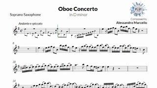 Play-Along for SOPRANO SAXOPHONE: A.Marcello's OBOE CONCERTO