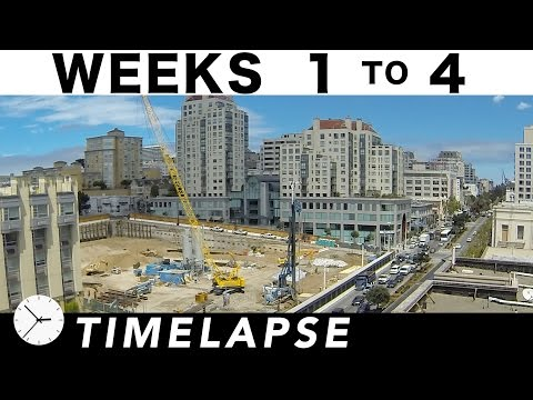 4-week construction time-lapse: Weeks 1 thru 4: Construction excavation begins in earnest