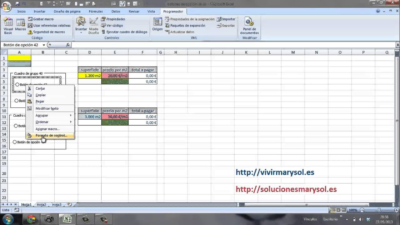 Excel, botones de opción múltiples - YouTube