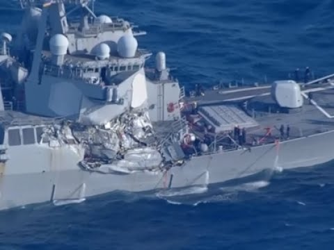 Raw: US Destroyer Damaged in Collision