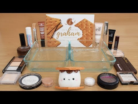 Smores - Mixing Makeup Eyeshadow Into Slime Special Series 204 Satisfying Slime Video
