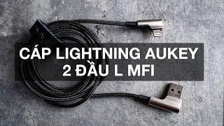 Trên tay cáp Lightning Aukey 2 đầu chữ L, chứng nhận MFI