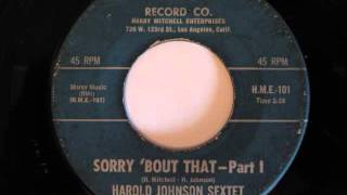 Harold Johnson Sextet- Sorry