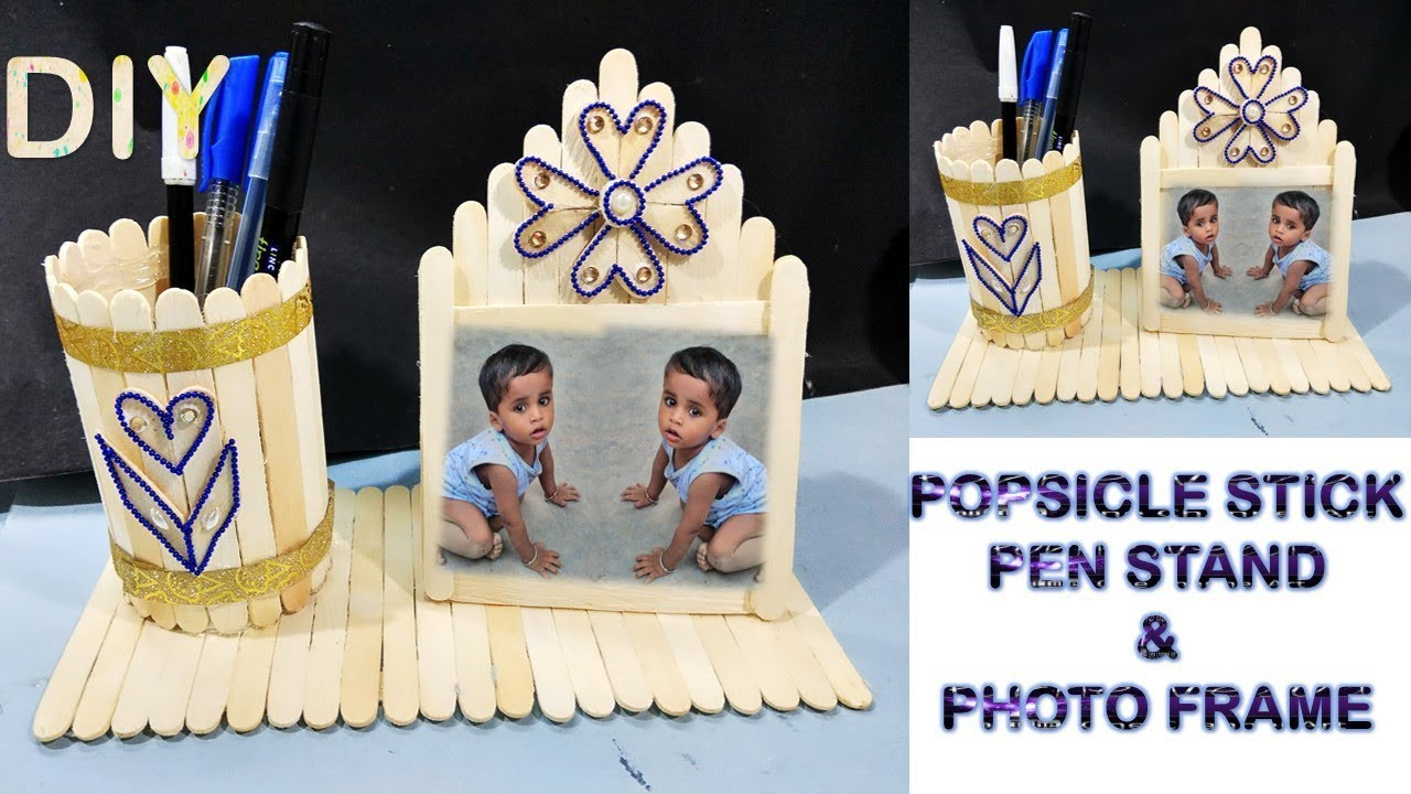 Diy Pen Holder And Photo Frame Diy Ice Cream Stick Craft