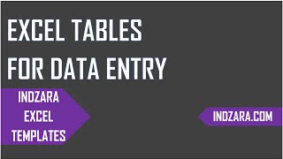 Introduction to Excel Tables - Data Entry