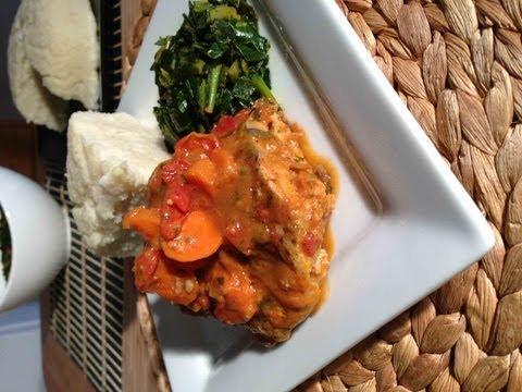 Tilapia curry, Ugali and Sukuma Wiki