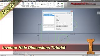 Inventor Tutorial How To Hide Dimensions