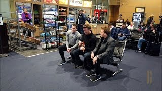 Frustrated, delayed passengers get a surprise by The Gentlemen Trio (GENTRI) in Kansas City Airport