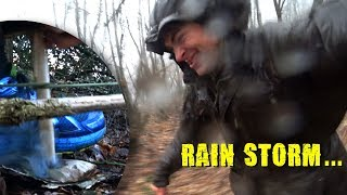 Rainstorm bowdril firemaking ~SURVIVAL without a TARP