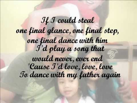 Lyrics of dance with my father by celine dion