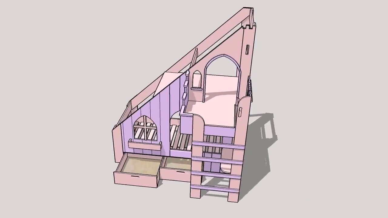 lit cabane chateau de princesse youtube. Black Bedroom Furniture Sets. Home Design Ideas