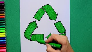 How to draw and color the recycling symbol