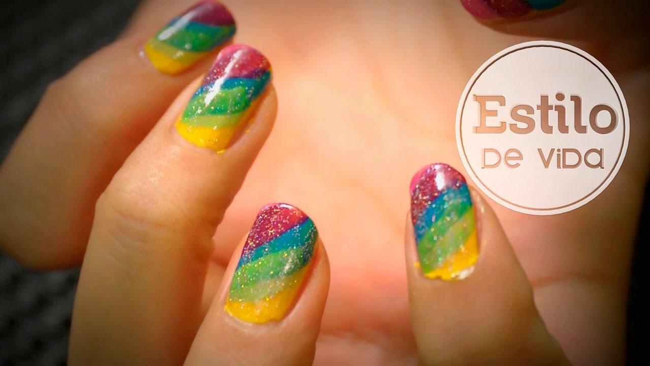 Diseño de uñas arcoíris | Manicura fácil de Carnaval - YouTube