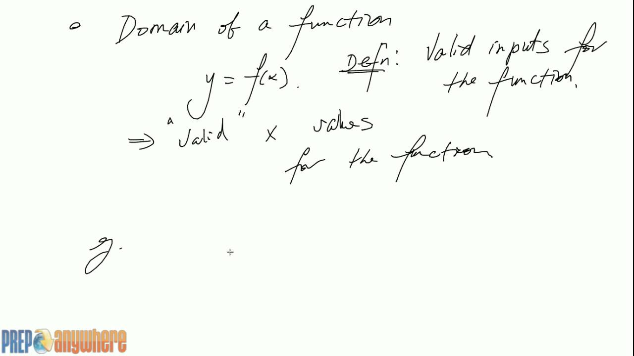 Definition Of Domain Of A Function