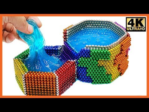 DIY - How To Make Rainbow Waterfall With Magnetic Ball, Slime (ASMR) | Pixel Art by Magnet World 4K