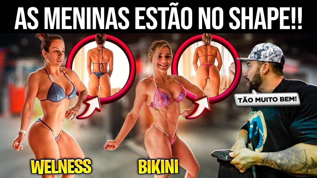 AS MENINAS VÃO COMPETIR JUNTAS E AVALIEI O SHAPE DELAS!! *bikini vs wellness*