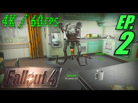 Fallout 4 Walkthrough in 4K Ultra HD / 60fps, Part 2: Codsworth the Domestic Engineer (Let's Play)