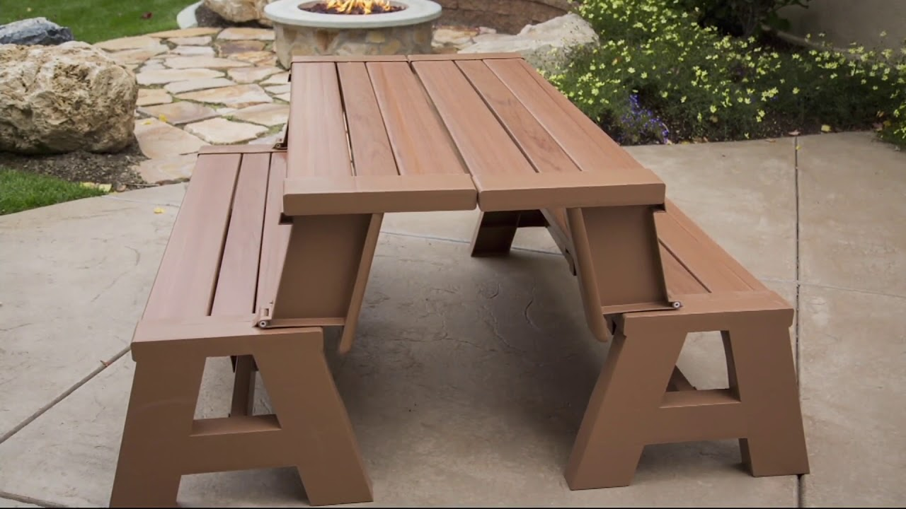 Faux Wood Outdoor 2 In 1 Bench To Table