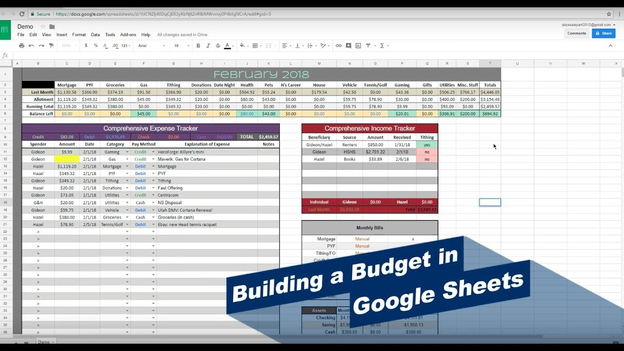 how to make a budget on google sheets