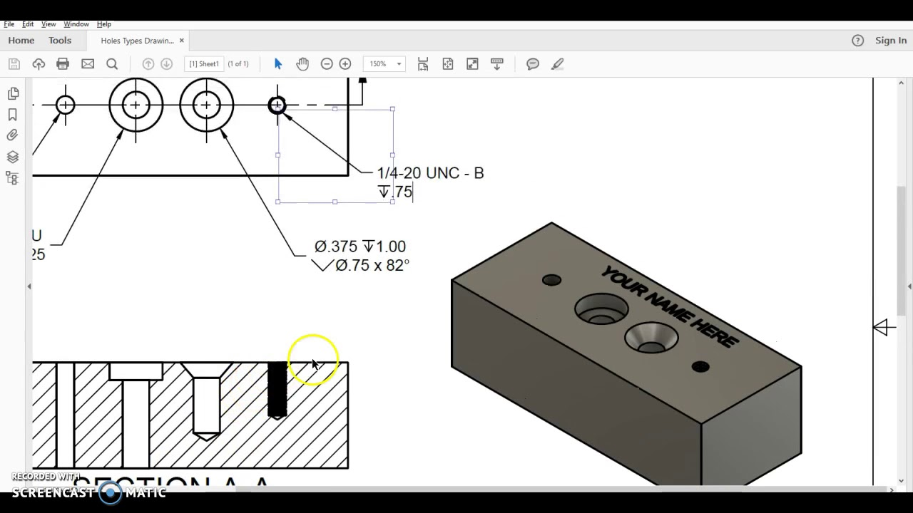 PLTW IED 5 5 - Hole with Threads in Fusion 360
