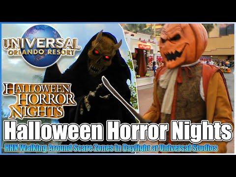 🎃halloween-horror-nights😱walking-around-in-daylight👻-scare-zones-universal-studios