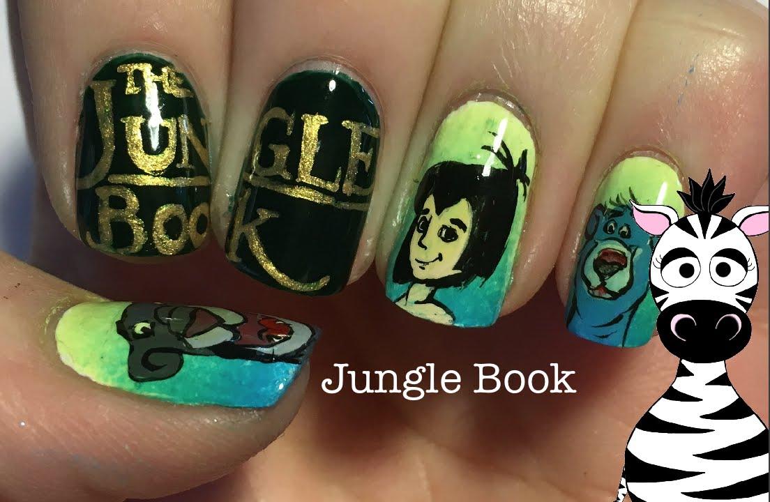 Jungle Book Nail Art Design Tutorial | Disney 2016 - YouTube