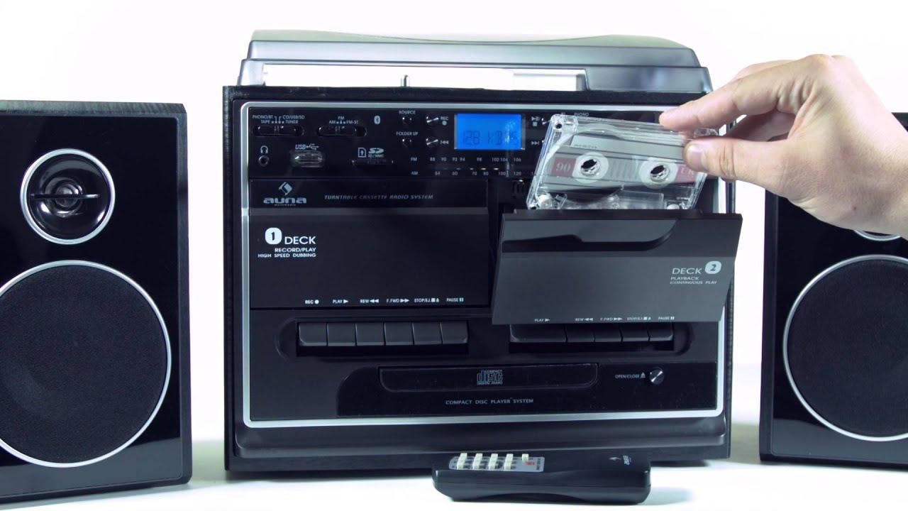 auna 388 bt stereoanlage mit plattenspieler kassette. Black Bedroom Furniture Sets. Home Design Ideas