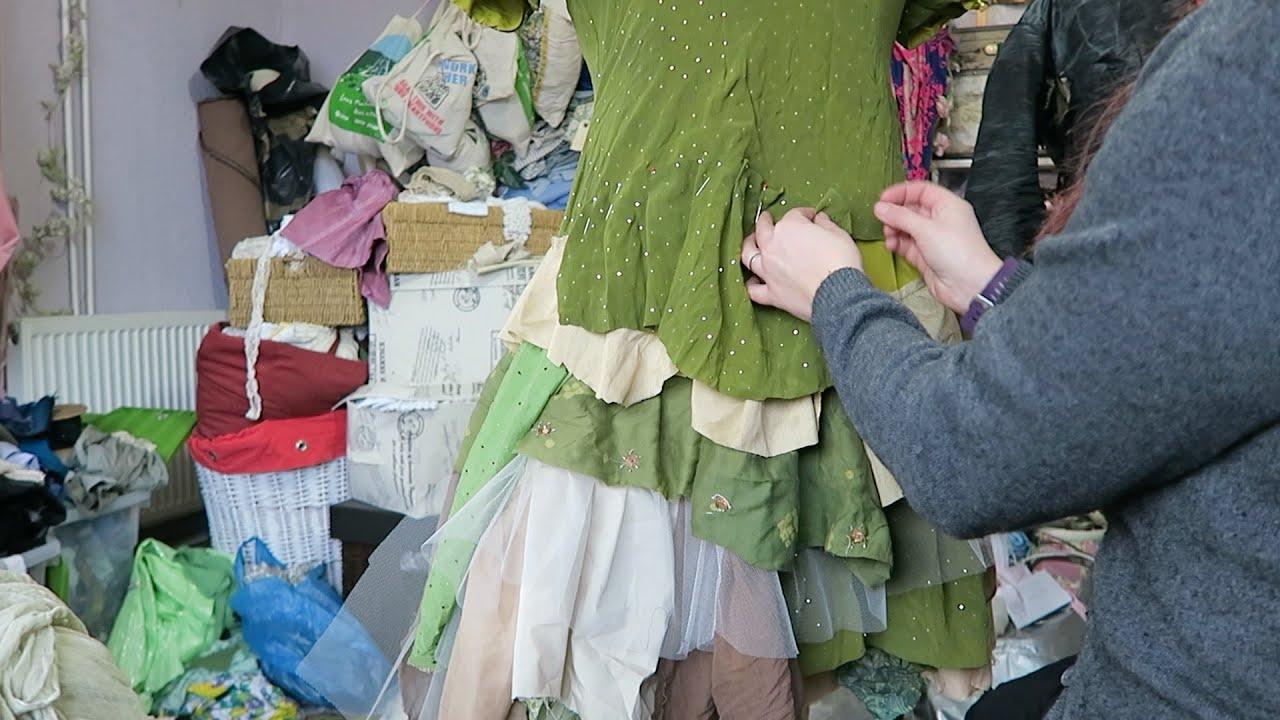 Making a Woodland fairy wedding dress - YouTube