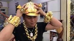 The Golden Man, 2kg gold cap with Diamonds !