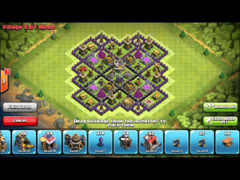 Clash Of Clans - Level 9 Town Hall Farming Base Layout - With 4 Mortars