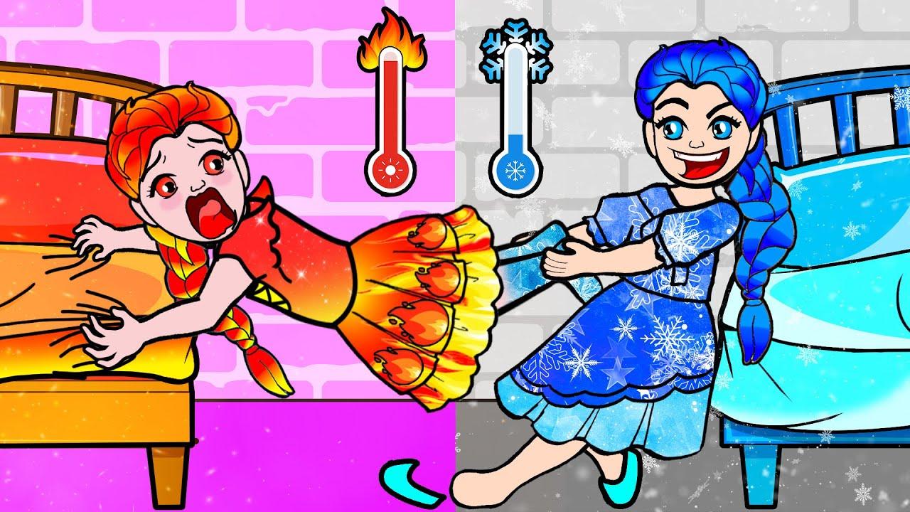 Download Paper Dolls Dress Up - HOT VS COLD ROOM Challenge - Barbies Story & Crafts