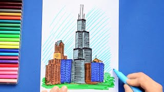 How to draw and color Willis Tower (Sears Tower), Chicago, Illinois, USA