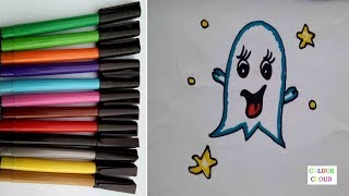 how to draw casper angel with markers clour