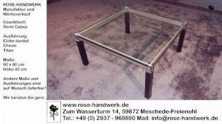Couchtisch Cubus Holz Eiche dunkel Metall Chrom Titan mit Glasplatte