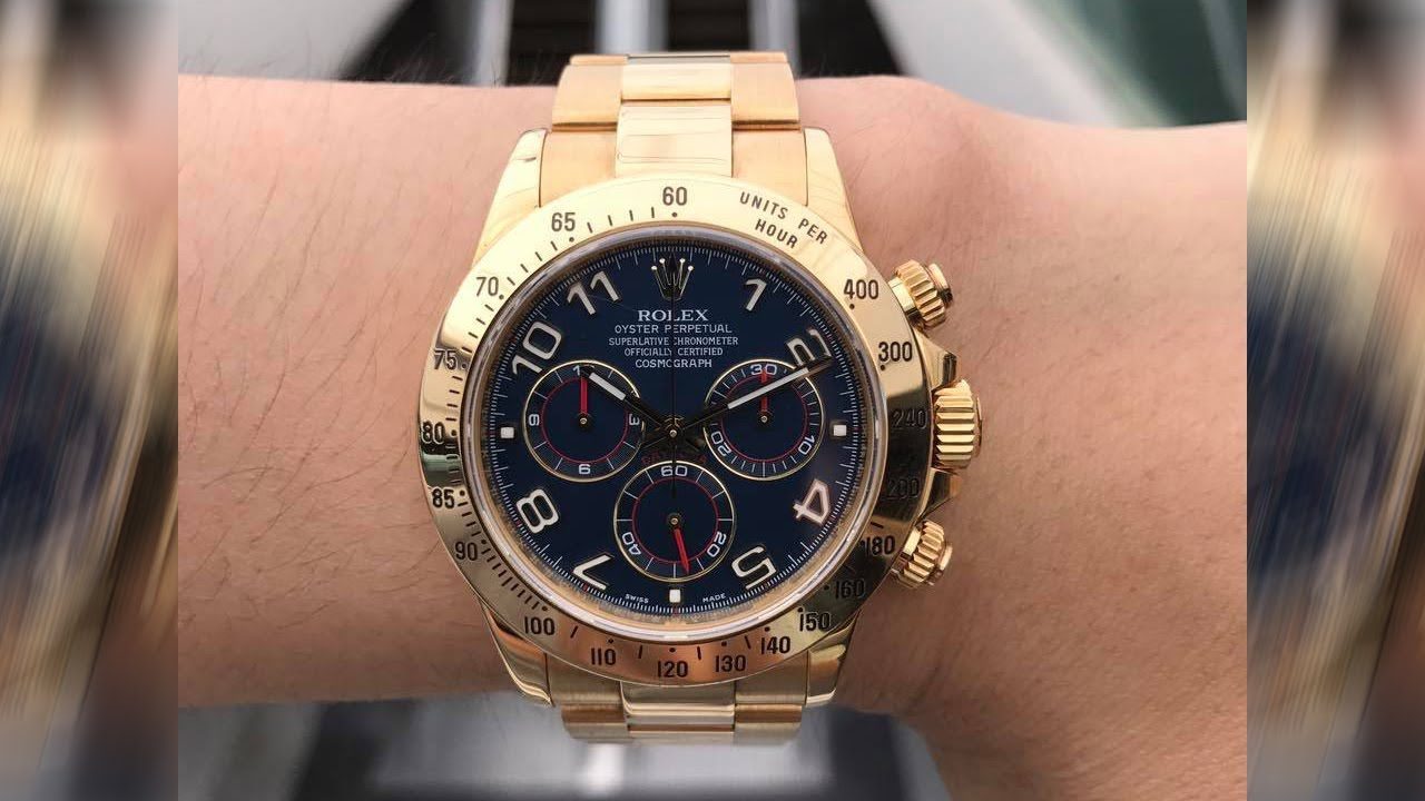 Rolex Cosmograph Daytona 116528 Blue Dial 40 Mm Yellow Gold Swiss