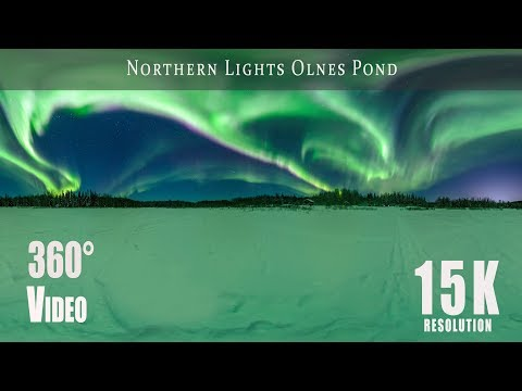 360 video of Northern Lights over Olnes Pond, Fairbanks, Alaska