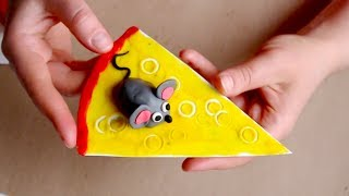 Аппликация Мышка на Сыре/ Видео урок для Детей 2-4 лет /Лепим из пластилина
