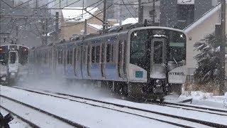 迫力満点!雪煙を上げて走行する東北本線の列車たち(EH500・701系・719系・E721系・HB-E210系)